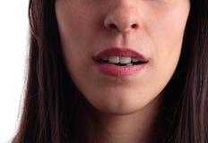 开放接近的女孩的嘴相当  免版税库存图片