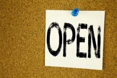 开放概念性手文字文本说明启发的陈列 在稠粘的笔记写的商店开头的企业概念,提示 免版税库存图片