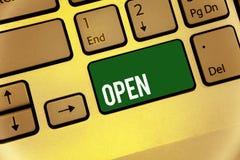 开放概念性手文字的陈列 企业照片文本允许事通过通过或为闭合的钥匙直接用途相反  库存照片