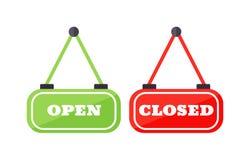 开放的传染媒介和接近的标志 免版税库存图片