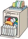 开放的洗碗机 向量例证