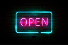 开放的霓虹灯广告,明亮的牌,发光的横幅 库存例证