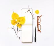 开放笔记本和玻璃特写镜头在白色背景 秋天栗子装饰葡萄10月石榴木头 顶视图,平的位置 免版税库存照片