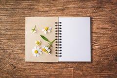 开放笔记本的顶视图图象有空白页的在chamomi旁边 库存照片