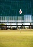 开放第18 2011高尔夫球正面看台的绿色 免版税库存照片