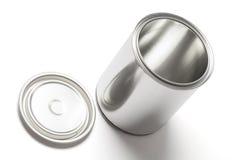 开放罐子油漆能与裁减路线 免版税库存照片