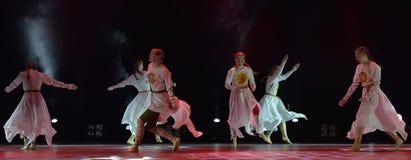 开放舞蹈节日2016儿童` s舞蹈小组执行斯拉夫语 库存图片