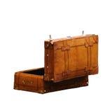 开放葡萄酒皮革减速火箭的行李的手提箱 免版税库存照片