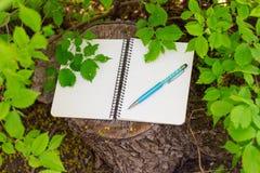 开放螺旋空白的笔记薄顶视图与笔的在木树桩背景和绿色分支 库存照片