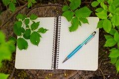 开放螺旋空白的笔记薄顶视图与笔的在木树桩背景和绿色叶子 库存照片