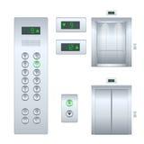 开放被隔绝的平的例证和闭合的内部镀铬物金属办公楼电梯门现实的大厅和 免版税库存照片