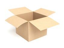 开放配件箱的纸板 免版税库存图片