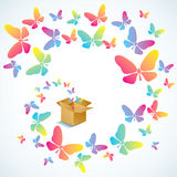 开放配件箱的蝴蝶 库存例证