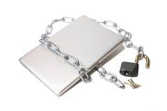开放链膝上型计算机锁定的金属 库存图片