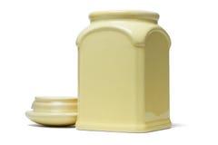开放陶瓷容器的盒盖 免版税库存照片