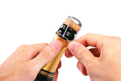 开放香槟的黄柏 免版税图库摄影
