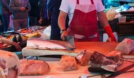 开放鱼市,卡塔尼亚 图库摄影