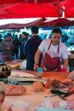 开放鱼市,卡塔尼亚 免版税库存图片