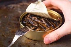 开放鱼能用手和叉子在桌上 库存图片