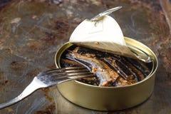开放鱼蜜饯和鱼在叉子 库存照片