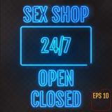 开放,闭合,性商店, 24/7小时在透明bac的霓虹灯 免版税库存照片