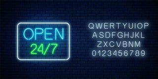 开放24个小时的发光的霓虹灯广告每星期七天几何形状的商店与字母表 r 向量例证