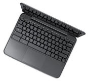 开放黑色计算机的膝上型计算机 免版税图库摄影