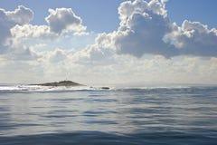 开普敦、海滩和海岛照片,灰色云彩 免版税库存照片