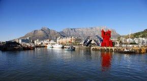 开普敦在日落,南非的港口视图 免版税库存照片