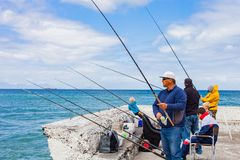 开普敦,南非, 2013年9月22日,钓鱼与的人们 库存图片