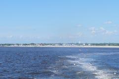 开普梅新泽西-特拉华湾、房子和天空看法  图库摄影