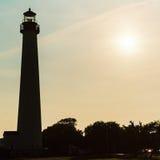 开普梅灯塔剪影在新泽西美国 库存照片