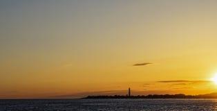 开普梅灯塔,日落的新泽西 免版税库存照片