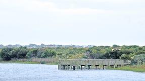 开普梅:在盐水湖的码头 免版税库存照片