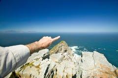 开普角,好望角看法,在开普敦,南非境外印度洋的合流的正确和大西洋Oce的 免版税库存图片