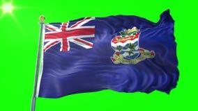 开曼群岛旗子无缝的使成环的3D翻译录影 美好纺织品布料织品圈挥动 影视素材