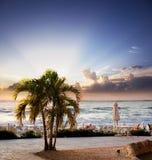 开曼群岛日落 库存照片