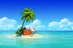 有棕榈的热带海岛,轻便马车休息室,手提箱。 库存图片