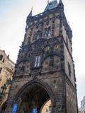 开枪力量塔历史在布拉格,捷克目的地旅行老遗产样式 库存图片