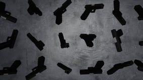 开枪动画,灰色背景 开枪武器黑军用手枪 3D动画对象圈 库存照片