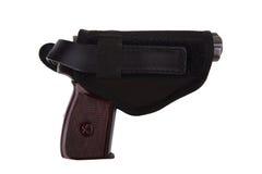 开枪在白色背景隔绝的纺织品手枪皮套 免版税图库摄影