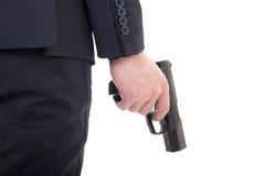 开枪在白色隔绝的商人手上 免版税图库摄影