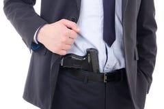 开枪在白色隔绝的警察或保镖裤子 免版税库存图片