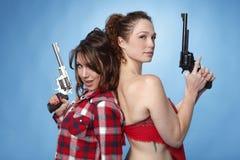 开枪妇女 库存图片