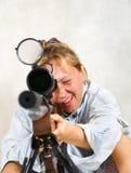 开枪妇女 免版税图库摄影