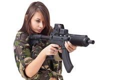 开枪战士妇女年轻人 库存图片