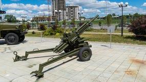 开枪短程高射炮一个军事博物馆的展览 库存图片