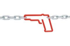 开枪链接标志锁与被隔绝的金属链子 库存图片