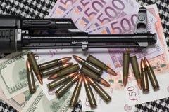 开枪货币 库存图片
