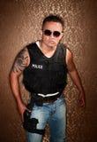 开枪pfficer警察 库存照片
